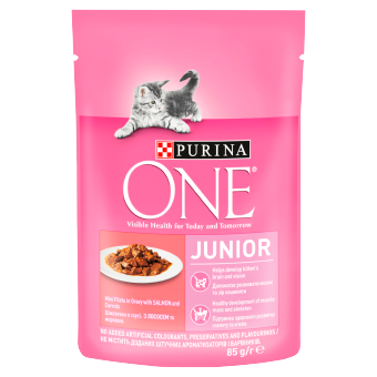 Purina ONE Junior – mokra karma z Łososiem