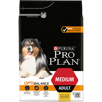PURINA® PRO PLAN® MEDIUM ADULT Z OPTIBALANCE®, SUCHA KARMA BOGATA W KURCZAKA
