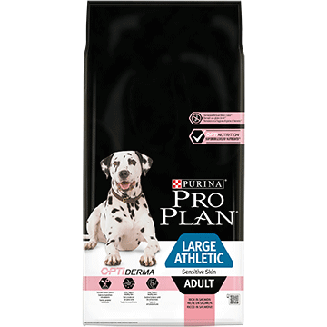 PURINA® PRO PLAN® LARGE ATHLETIC ADULT SENSITIVE SKIN SUCHA KARMA DLA DOROSŁYCH PSÓW Z OPTIDERMA®, BOGATA W ŁOSOSIA