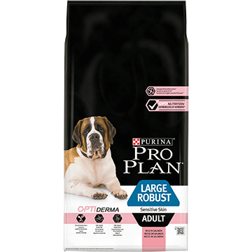 PURINA® PRO PLAN® LARGE ROBUST ADULT SENSITIVE SKIN, SUCHA KARMA DLA DOROSŁYCH PSÓW Z OPTIDERMA®, BOGATA W ŁOSOSIA