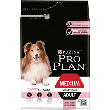 PURINA® PRO PLAN® Medium Adult Sensitive Skin z OPTIDERMA®, sucha karma bogata w łososia