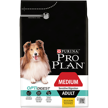 PURINA® PRO PLAN® MEDIUM ADULT SENSITIVE DIGESTION Z OPTIDIGEST®, SUCHA KARMA BOGATA W JAGNIĘCINĘ