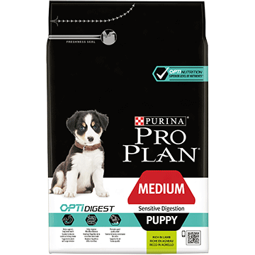 PURINA® PRO PLAN® MEDIUM PUPPY SENSITIVE DIGESTION Z OPTIDIGEST®, SUCHA KARMA BOGATA W JAGNIĘCINĘ