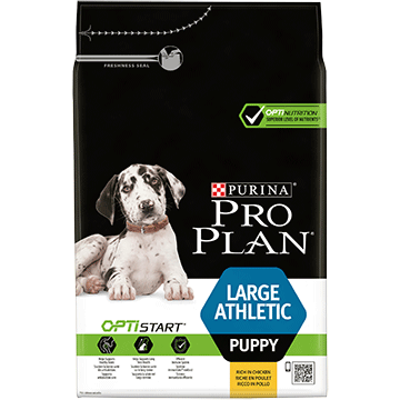 PURINA® PRO PLAN® LARGE PUPPY ATHLETIC Z OPTISTART®, SUCHA KARMA BOGATA W KURCZAKA