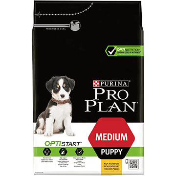 PURINA® PRO PLAN® MEDIUM PUPPY Z OPTISTART®, SUCHA KARMA BOGATA W KURCZAKA