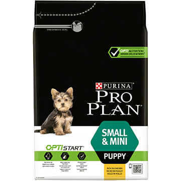 PURINA® PRO PLAN® SMALL & MINI PUPPY Z OPTISTART®, SUCHA KARMA BOGATA W KURCZAKA