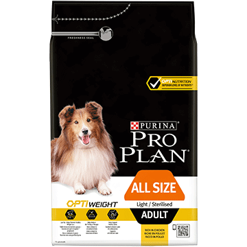 PURINA® PRO PLAN® ALL SIZES ADULT LIGHT / STERILISED Z OPTIWEIGHT®, SUCHA KARMA BOGATA W KURCZAKA